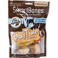 Petmatrix - Smartbones Playtime Chews With Real Chicken Treats - Peanut Butter - Medium/5 Pack