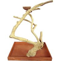 A&E Cage Company - Java Wood Table Top Bird Play Stand - Natural - Medium- 22 Inch