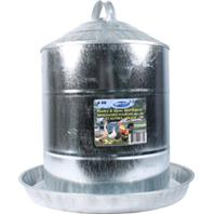 Millside Industries - Double Wall Cone Top Galvanized Poultry Fountain - Galv Steel - 5 Gallon