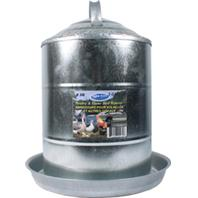 Millside Industries - Double Wall Cone Top Galvanized Poultry Wall Fount - Galv Steel - 3 Gallon