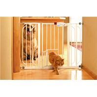 Carlson Pet Products - Extra Wide Walk-Thru Gate With Pet Door - White - 29-44 Inch