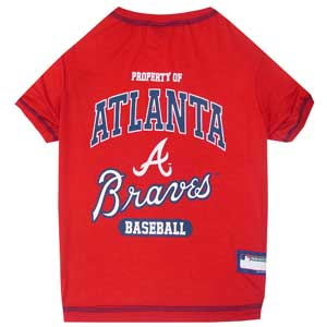 Doggienation-MLB - Atlanta Braves Dog Tee Shirt - Xtra Small