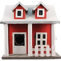 Songbird Essentials - Picket Fence Cottage Birdhouse - Red&White