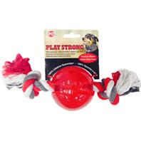 Ethical Dog - Play Strong Tugs Ball With Rope - Red - Large