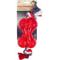 Ethical Dog - Play Strong Tugs Bone With Rope - Red - Medium