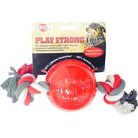 Ethical Dog - Play Strong Tugs Ball With Rope - Red - Medium