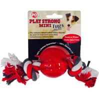Ethical Dog - Play Strong Mini Tugs Ball With Rope - Red - Small