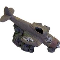 Blue Ribbon Pet Products - Exotic Environments Sunken Wwii Plane With Cave - Brown