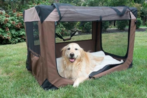 Iconic Pet - Multipurpose Pet Soft Crate with Fleece Mat - Coffee/Khaki - Small