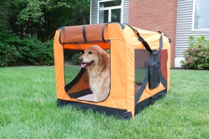 Iconic Pet - Versatile Pet Soft Crate with Fleece Mat - Orange - Large