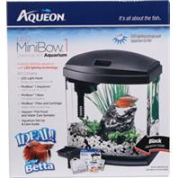 Aqueon Products - Glass - Aqueon Led Mini Bow Aquarium Kit - Black - 1 Gallon