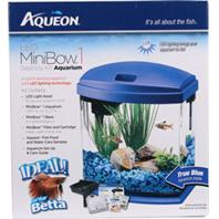 Aqueon Products - Glass - Aqueon Led Mini Bow Aquarium Kit - Blue - 1 Gallon