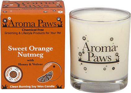 Aroma Paws - Orange Nutmeg Vetiver - Glass Candle In Box - 8 oz