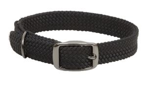 Mendota Pet - Double-Braid Collar 1 Inch Width up to 18 Inch Length - Black with Black Metallic Hardware