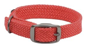 Mendota Pet - Double-Braid Collar 1 Inch Width up to 21 Inch Length - Red with Black Metallic Hardware