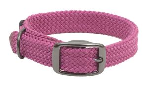 Mendota Pet - Double-Braid Collar 1 Inch Width up to 21 Inch Length - Raspberry with Black Metallic Hardware