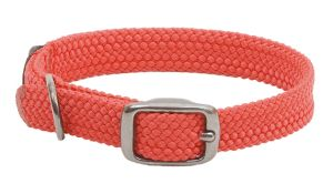 Mendota Pet - Double-Braid Junior Collar 1 Inch Width up to 12 Inch Length - Red with Black Metallic Hardware