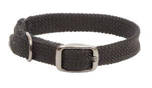 Mendota Pet - Double-Braid Junior Collar 1 Inch Width up to 14 Inch Length - Black with Black Metallic Hardware