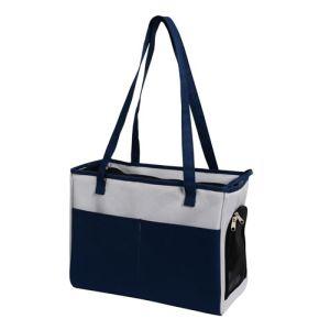 Iconic Pet - FurryGo Pet Shoulder Carrier/Bag - NavyBlue/LightGrey