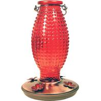 Woodstream Hummingbird - Hobnail Vintage Hummingbird Feeder - Red - 24 oz