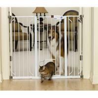 Carlson Pet Products - Extra Tall Walk-Thru Pet Gate With Pet Door - White - 29-34Wx41H Inch