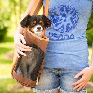 Iconic Pet - FurryGo Pet Shoulder Carrier/Bag - Coffee/Orange