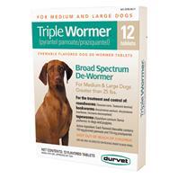 Durvet - PetD - Triple Wormer Broad Spectrum Dewormer For Dogs -- 12 Ct/Over 25Lb