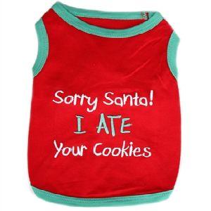 Parisian Pet Sorry Santa I Ate Your Cookies Dog T-Shirt-Large