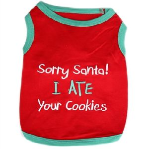 Parisian Pet Sorry Santa I Ate Your Cookies Dog T-Shirt-Medium