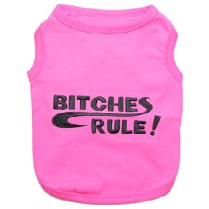 Parisian Pet Bitches Rule Dog T-Shirt-Large