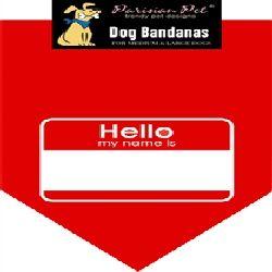 Parisian Pet Hello My Name Is Dog Bandana-Small