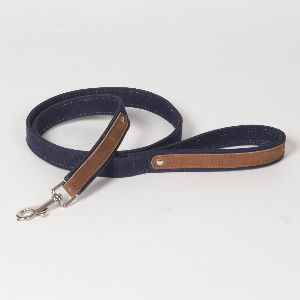 "Hound?s Best  - Medium Canvas Leather Dog Leash ""Indigo"" - 4 feet"