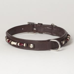 "Hound?s Best - Medium Beaded Leather Dog Collar ""Dakota"""