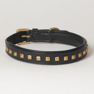 "Hound?s Best - Medium Genuine Leather Dog Collar ""Phantom"""