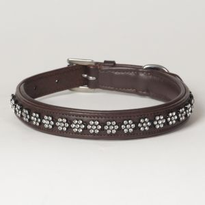 "Hound?s Best - Medium Rhinestone Leather Dog Collar Swarovski ""Blossom"""
