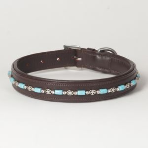 "Hound?s Best - Large Beaded Rhinestone Leather Dog Collar ""Papillon"""