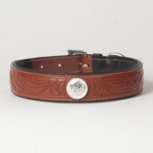 "Hound?s Best - Large Hand Carved Leather Dog Collar ""Ponderosa"""