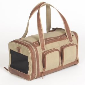 Hound?s Best - Deluxe Pet Travel Carrier - Khaki With Genuine Leather Accents