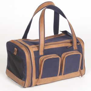 Hound?s Best - Deluxe Pet Travel Carrier - Navy With Genuine Leather Accents