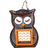 Heath - Owl Dual Suet & Seed Bird Feeder - Brown/Orange