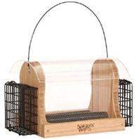 Natures Way Bird Prdts - Hopper Feeder With Suet Cages - Bamboo - 4 Quart Cap