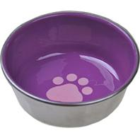 Van Ness - Stainless Steel Non-Skid Cat Dish with Decorated Enamel Interior - Assorted - 8 oz