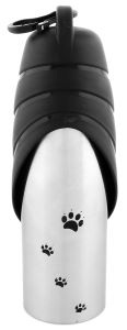 Iconic Pet - Handy Stainless Steel Pet Travel Water Bottle With Drinking Bowl - 750Ml (Black Cap) - for Dog/Cat