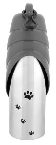 Handy Stainless Steel Pet Travel Water Bottle With Drinking Bowl - 750Ml (Gray Cap) - for Dog/Cat