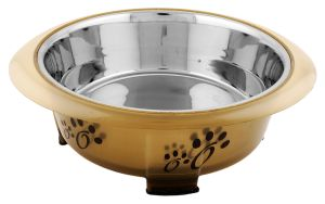 Color Splash - Designer Oval Fusion Bowl - Medium - Brown - for Dog/Cat - 28 Oz - 3.5 Cups