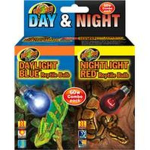 Zoo Med - Day And Night Reptile Bulb Combo Pack - 60 watt