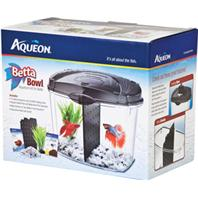 All Glass Aquarium - Aqueon Supplies - Betta Bowl Kit With Divider - Black - 0.5 Gallon