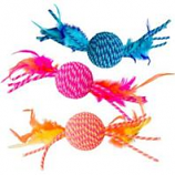 Ethical Cat - Elasteeez Ball/Feathers Cat Toy - Assorted - 6In