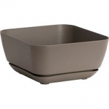 Novelty Mfg - Garden Planter with Attached Tray - Taupe - 12 Inch