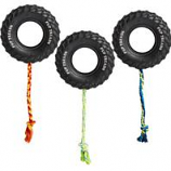 Ethical Dog - Pup Treads Rubber Tire W/Rope - Black - 6In